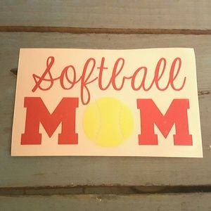 3x4 Red Yellow Softball Mom Car Decal